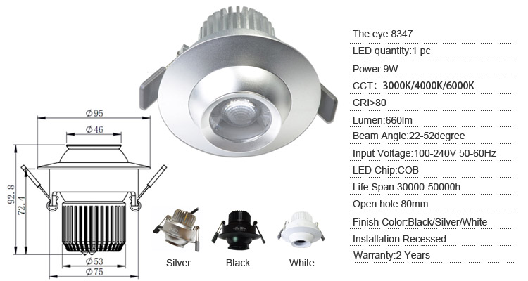 spec of 8347 9w led downlight
