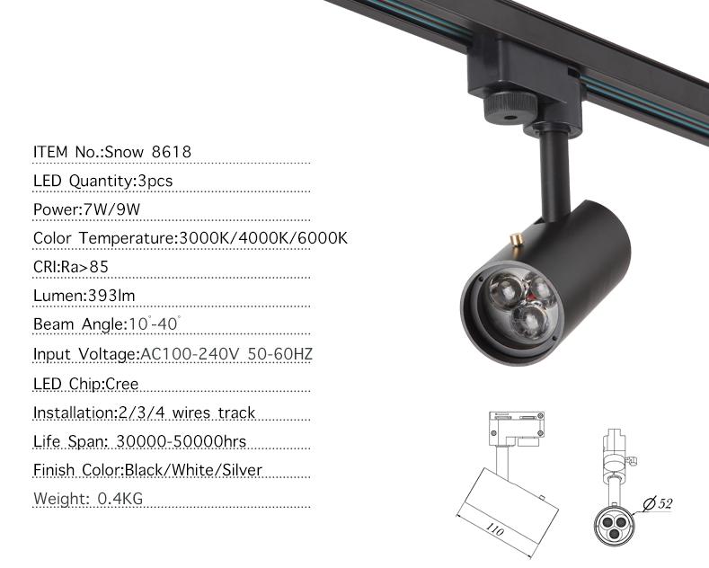 pritemdytos led taškinės lemputės specifikacija 7w 9w