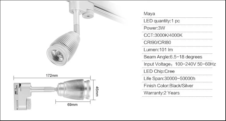 specifications of led track light narrow beam 6 degrees