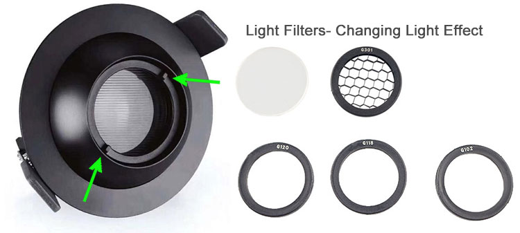 led downlight filters chaning light effect