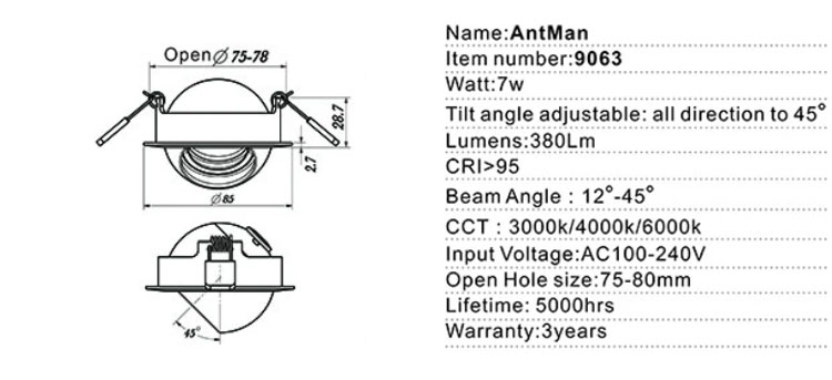 led gimbal recessed lighting specs